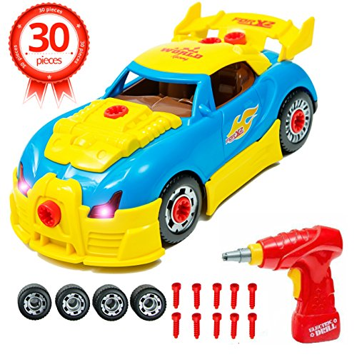 Brainnovative Construction Car Toy For Kids - Build A Car With Toy Tools For 3 Year Old Toddler - 30 Take Apart Pieces With Realistic Engine Sounds And Lights - DIY Toy For Children Ages 3-6
