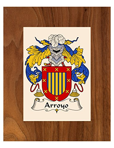 Carpe Diem Designs Arroyo Coat of Arms/Arroyo Family Crest 8X10 Photo Plaque, Personalized Gift, Wedding ()