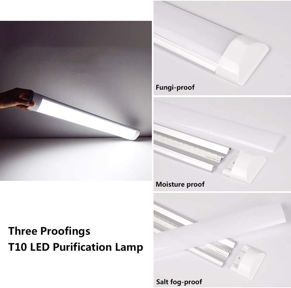 LED Batten Light 40W 3000LM Daylight White 6500K RayingRio LED Tube Lights Fixture 4Ft Linear LED Light with Brackets Milky Cover 180/°Beam Angle for Workshop Warehouse Garage Closet Home 1Packs