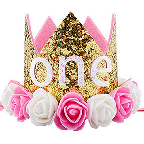 Finduat Baby Girl First 1 Birthday Crown Hat, Baby Girl Princess Flower Tiara Headbands Party Hat for Baby Girl 1st Birthday Party Supplies -