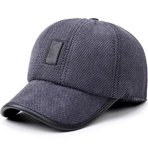 moda otoño invierno cálido ZHAS de gorra gorro mantenga algodón y masculina la de cuero caliente de tapón el Grey béisbol 0AABq