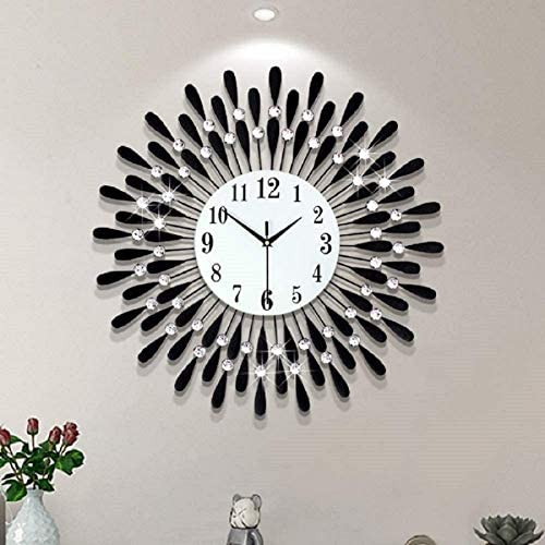 27.5 inch Large Black Drop Wall Clock Non-Ticking Silent Quartz Metal Clocks,Blue Glass Dial