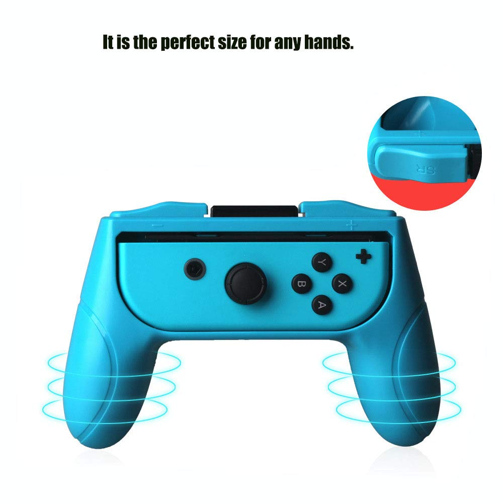 Duttek Grips compatible with Nintendo Switch joy-con grip,Left and right hand Ergonomic design Handle, Grab control and elevate your game with the FastSnail Grip Kit,2 Pack (Red and Blue) by Duttek