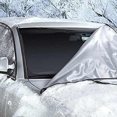 """Weathershield Windshield Wrap - Car Snow Cover (66"""" x 41 ½"""") - All Weather Magnetic Wrap - Anti Theft Flaps - For Sedan / SUV / Truck - Best Auto Protection Against Ice / Frost / Leaves / Sun"""