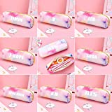 Youyouchard BTS Bangtan Boys Rainbow Color Students Large Capacity PU Leather Pencil Case Pen Bag Pouch Stationary Case Makeup Cosmetic Bag