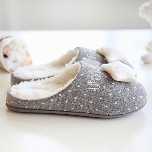 Fortuning's JDS Femmes Filles Dames Velours Confortable Toison Maison Chaussures Gris Flocon de neige & Étoile Pantoufles confortables