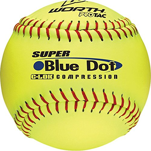 - Worth 47/525 Synthetic Blue Dot Yellow Softball, 3-Inch (One Dozen)