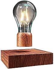 VGAzer unosząca się lampa stołowa LED z przyciskiem dotykowym magnetyczna o szlachetnym wyglądzie drewna, bezprzewodowa żarówka LED, lampa dekoracyjna z technologią magnetyczną, pomysł na prezent, lampka nocna do dekoracji pomieszczenia