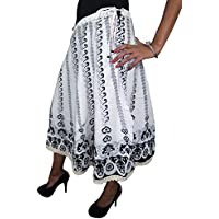 Mogul Women's Skirt Cotton Ethnic Printed White Gypsy Flared Skirts