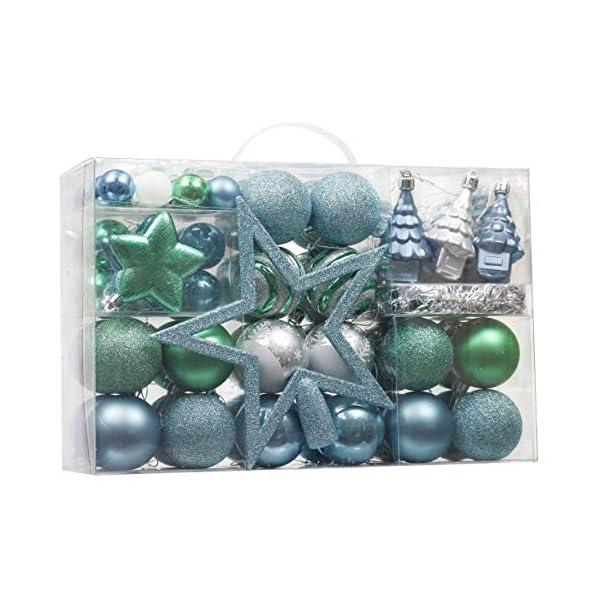 Valery Madelyn Palle di Natale 100 Pezzi di Palline di Natale, 3-5 cm Auguri Invernali Blu Verde e Nastro Infrangibile Ornamenti Palla di Natale Decorazione per Albero di Natale 1 spesavip