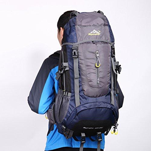 HWJIANFENG 65+5L Mochilas de Senderismo Hombre Portatil Impermeable de Nilon Mochilas de Excursion para Viajes Mochilas Unisex Azul oscuro