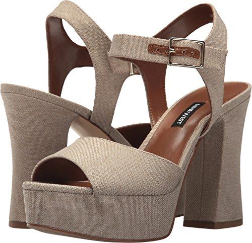 Nine West Women's Wilmarie Platform Heel Sandal Natural Linen 8.5 M US