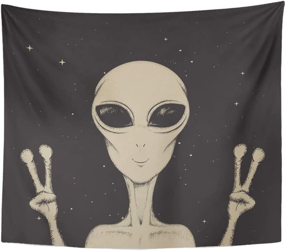 "Emvency Tapestry Wall Hanging Drawing Alien Showing Peace Sign Space Life Color Paranormal UFO Astronomic 50"" x 60"" Home Decor Art Tapestries for Bedroom Living Room Dorm Apartment"
