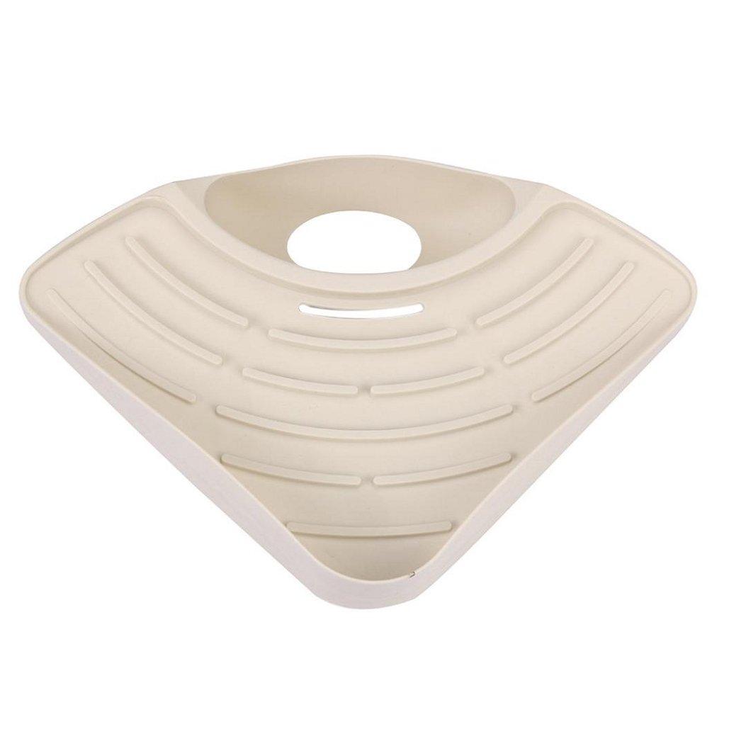 Storage Rack(27×19×5.5CM) ,Tuscom Bathroom Kitchen Sink Corner Storage Soap Tool Rack Sponge Holder Suction Cup (Khaki) by Tuscom (Image #2)