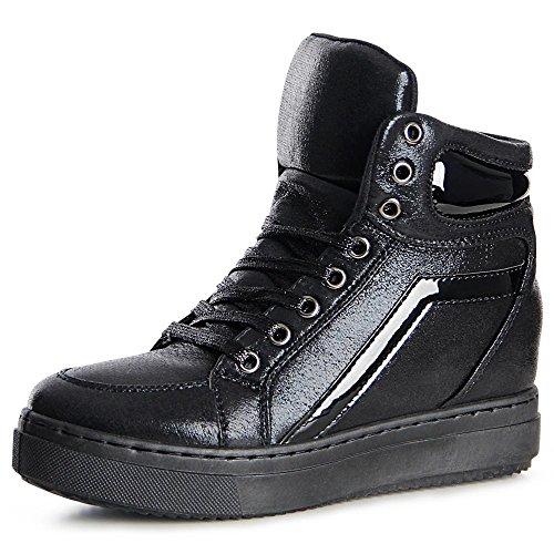 topschuhe24 841 Damen Sneaker Keilabsatz Hidden Wedges Black