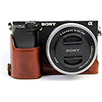 Hwota Handmade PU Leather Half Camera Case bag Cover for Sony Alpha A6000 A6300 ILCE-6300 Bottom Opening Version - Coffee