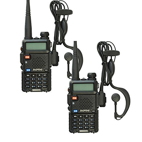 BaoFeng UV-5R Dual Band 136-174/400-480 MHz FM Ham Two Way Radio with Programming Cable, Improved Stronger Case, Enhanced Features(Black 2 Pack)