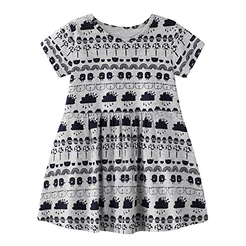 Little Girls Summer Dress Cotton Ruffle Nightgown Dress Floral Skirt -