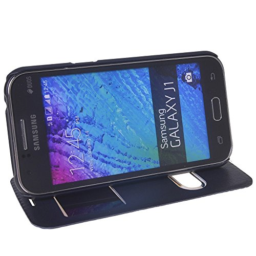 Galaxy J1 Funda,COOLKE [Marrón] Ultra Delgado Flip Folio View Window Funda Carcasa Protective Case Cover Para Samsung Galaxy J1 Sapphire