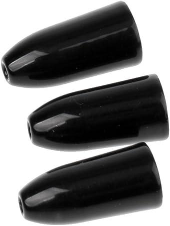FLAMEER 3 Piezas Pesca Tungsteno Pesas De Gusano Plomos Forma De Bala Bass Negro 7g