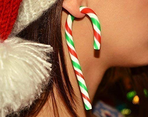 Christmas Candy Earrings, Candy Cane, Handcrafted Christmas Earrings, Christmas Candy Ear Plugs or Fake Gauges, Cane Earrings, Cane Plugs