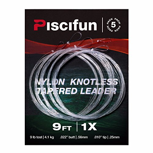 Piscifun Fly Fishing Tapered Leader with Loop-9ft 5 Pack 1x