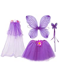 4Pcs Girls Princess Fairy Costume Set with Wings, Tutu, Wand and Floral Wreath Veil for Children Ages 3-6 (Purple)