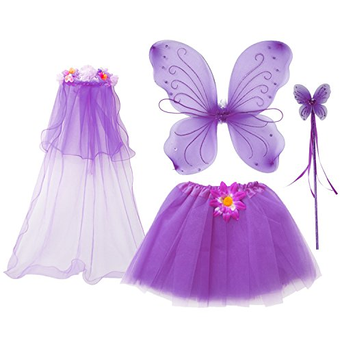 Fairy Princess Dress Up - fedio 4Pcs Girls Princess Fairy Costume Set with Wings, Tutu, Wand and Floral Wreath Veil for Children Ages 3-6 (Purple)