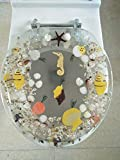 Heavy Duty Comfort Seahorse Seashells Round Toilet Seats with Cover Acrylic Seats.(New Sea Clear