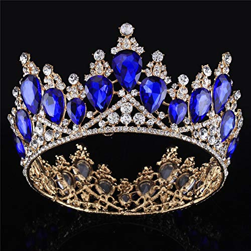 Vintage Rhinestones Crystal Crown for Women Wedding Bridal Tiara Flower Crown Hair Accessories (gold-blue)