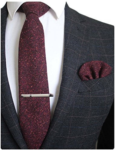 (JEMYGINS Burgundy Cashmere Wool Necktie and Pocket Square, Hankerchief and Tie Clip Sets for Men (4))