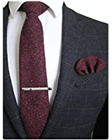 JEMYGINS Burgundy Cashmere Wool Necktie and Pocket Square, Hankerchief and Tie Clip Sets for Men (4)