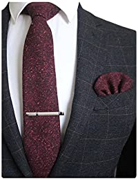 "JEMYGINS Plaid Cashmere Necktie Solid Wool 2.4"" Skinny Ties for Men"