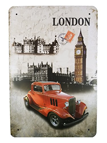Plate Souvenir Wall (Ei London Vintage Metal Plate Frame Décor England Souvenir Wall Arts Home Decorations Office Bedroom Living Room Wedding Party Modern Gifts (Red Car))