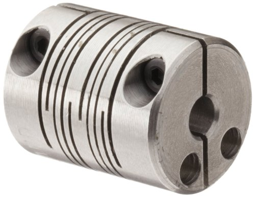 (Ruland PCMR16-5-4-SS Clamping Beam Coupling, Stainless Steel, Metric, 5mm Bore A Diameter, 4mm Bore B Diameter, 15.9mm OD, 20.3mm Length, 1.36 Nm Nominal Torque )