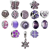 N'joy 16PC Assorted Crystal Rhinestone Charm Beads,Clap,Stoper,Dangle Pendant,Fit European Charm Bracelet,March Birthstone (Flower-Purple)