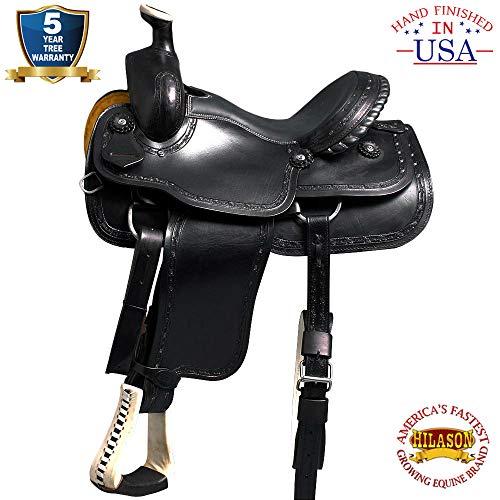 HILASON 16 Big King Western Leather Wade Ranch Roping Cowboy Saddle Black
