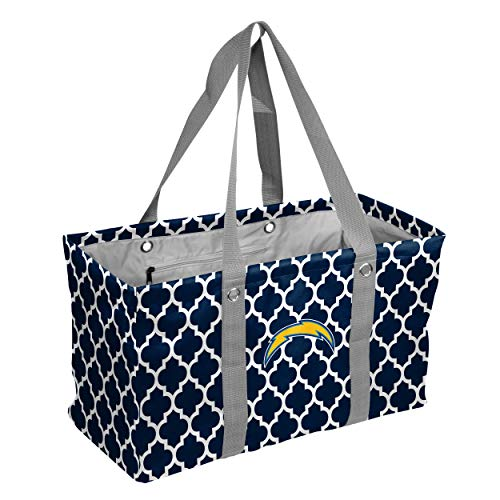 Logo Brands NFL San Diego Chargers Quatrefoil Picnic Caddy, Navy, One Size