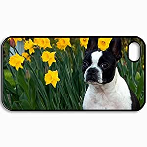 Fashion Unique Design Protective Cellphone Back Cover Case For iPhone 4 4S Case Dog Muzzle Bulldog Flowers Daffodils Black