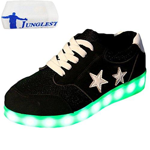 [Presente:pequeña toalla]JUNGLEST Mujer LED Zapatos Deportivos USB Re Negro