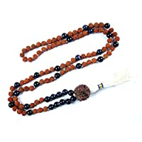 Tibetan Healing Bead Necklace- Rudraksha Black Onyx 108 Prayer Shiva Meditation Japa Mala