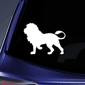 "Bargain Max Decals Standing Lion Silhouette Sticker Decal Notebook Car Laptop 5.5"" (White)"