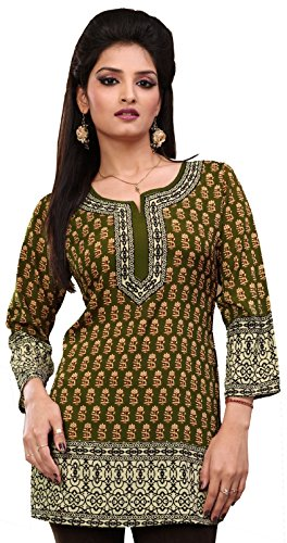 Indian Tunic Top Womens Kurti Printed Blouse Kurta India Clothes – S…Bust 34 inches, Green