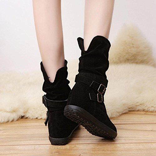 Chaussures Automne Hiver Femmes Bottines Garniture Biker Femmes Plates Bottes Neige Buckle Wedge Bottines Cheville de Chaussures GongzhuMM Low xSI0wwtqXY