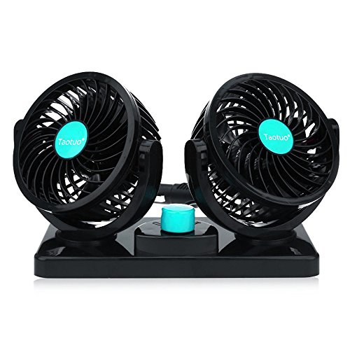 Taotuo 12V Electric Car Fan 360 Degree Rotatable Dual Head Car Auto Cooling Air Circulator Fan for Truck SUV RV Boat Auto Vehicles (Car Fan Solar compare prices)