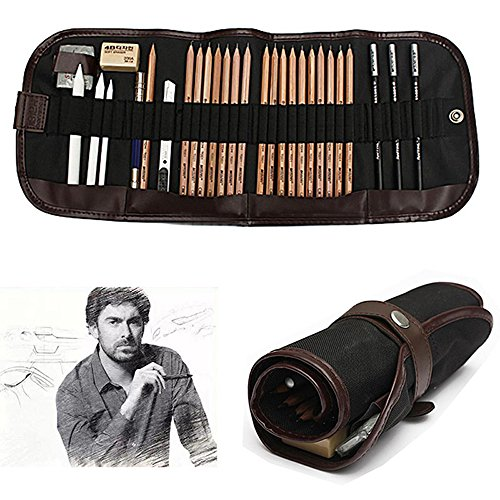 Drawing Materials Charcoal - KOBWA Professional Sketch Drawing Kit, 18 Pieces Art Set of Charcoal Sketching Pencils, Erasers, Paper Pens, Pencil Extenter, Craft Knief & Canvas Pouch for Kids Adults Artists