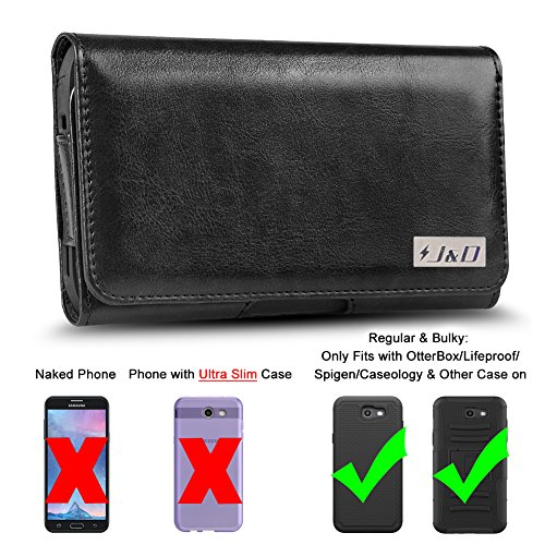 J&D Holster Compatible for Galaxy A60/Galaxy S10/Galaxy J7 2018/J7 2017/J7 2016/J7 V 2nd Gen/J7 Refine/J7 Star Holster with Belt Clip, PU Leather Pouch and ID Wallet Case (Fit with Bulky Case On)