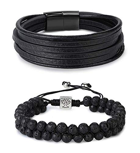 Yadoca 2 Pcs Lava Rock Essential Oil Diffuser Beads Bracelet Leather Bracelet Set Men/Women Stainless Steel Magnetic Clasp Adjustable- Diffuser Bracelets (Best Fragrance For Young Man)
