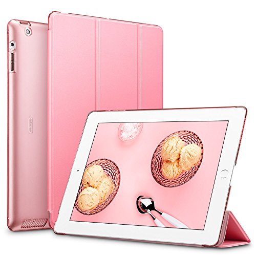 Esr Ipad 2 3 4 Case  Smart Case Cover  Synthetic Leather  Translucent Frosted Back Magnetic Cover With Auto Sleep Wake Function  Light Weight   Sweet Pink