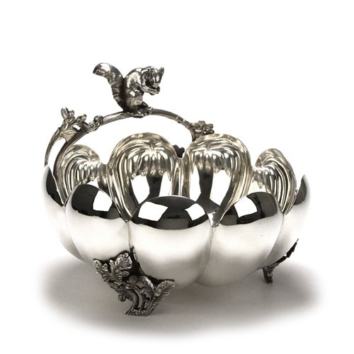 Nut Bowl, Figural by Pairpoint, Silverplate, Squirrel